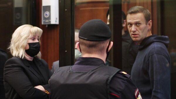 Алексей Навальный на заседании Московского городского суда. Кадр видео