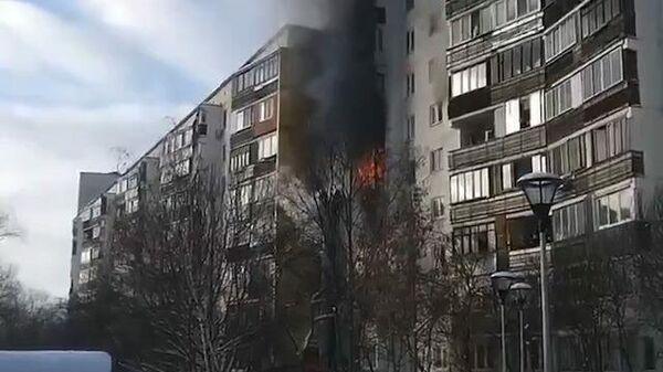 Кадры с места пожара в поселке Мосрентген