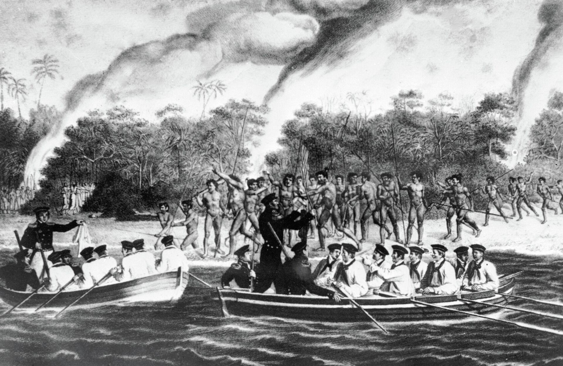 Туземцы кораллового острова Моллера встречают русских моряков - РИА Новости, 1920, 11.02.2021