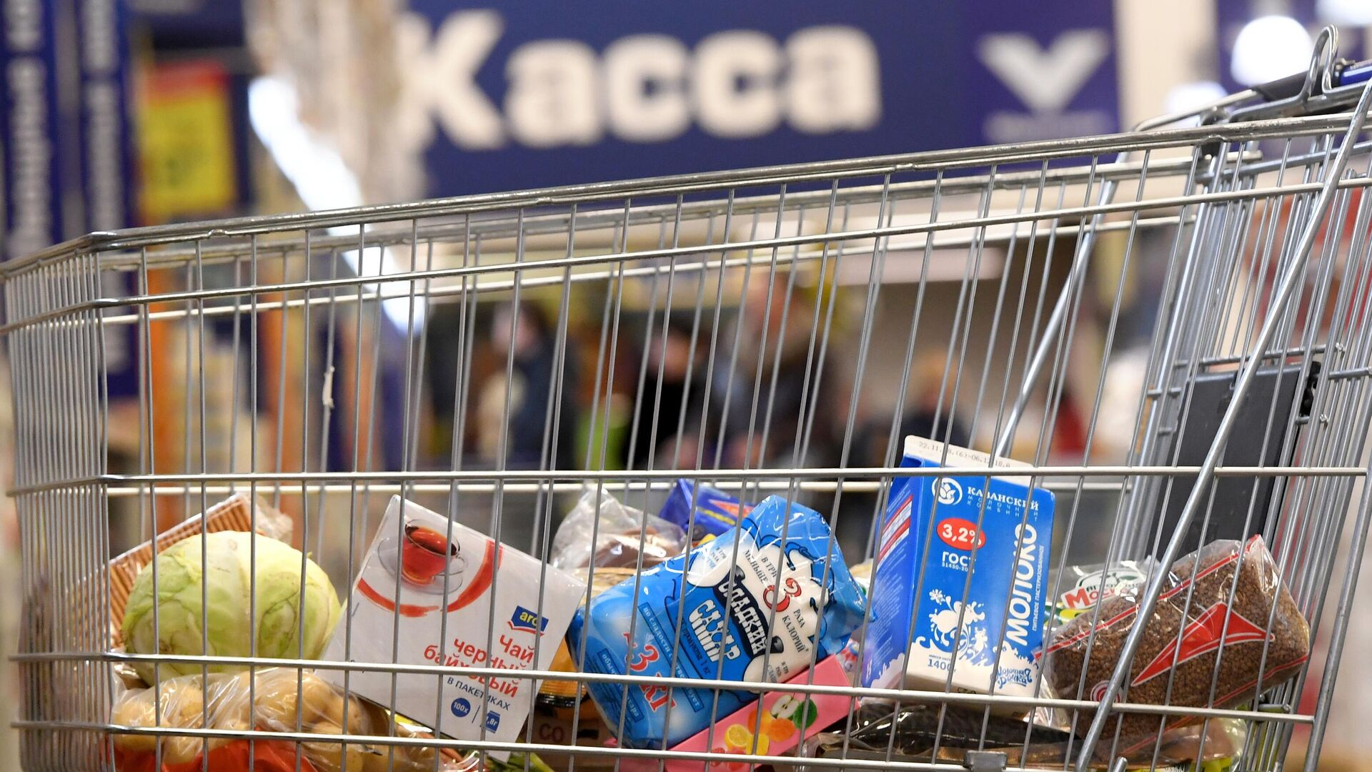 Тележка с продуктами в магазине - РИА Новости, 1920, 02.05.2021