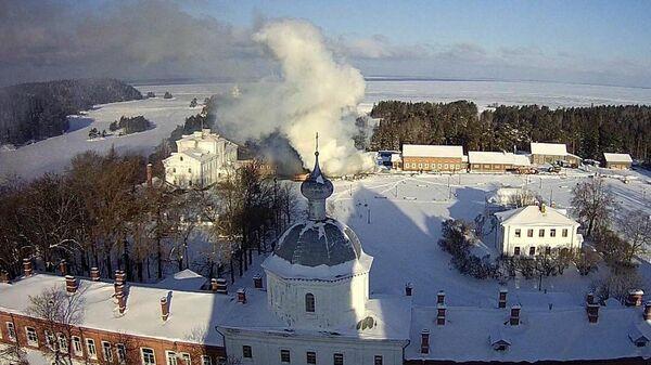 Пожар на территории Спасо-Преображенского Валаамского монастыря