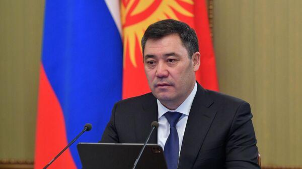 Президент Киргизии Садыр Жапаров во время российско-киргизских переговоров