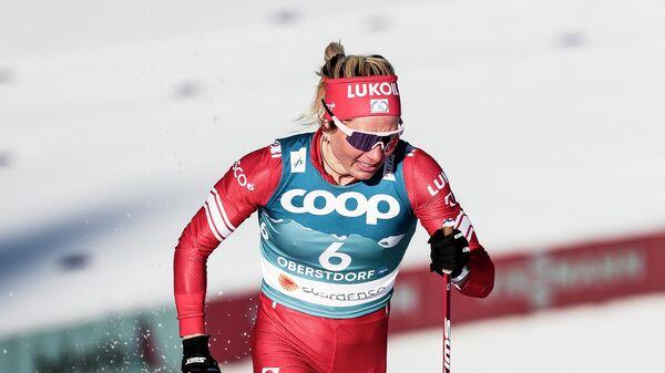 Татьяна Сорина на дистанции спринта свободным стилем в квалификации соревнований по лыжным гонкам среди женщин на чемпионате мира-2021 по лыжным видам спорта в немецком Оберстдорфе.