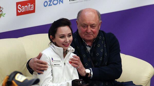 Елизавета Туктамышева с тренером Алексеем Мишиным