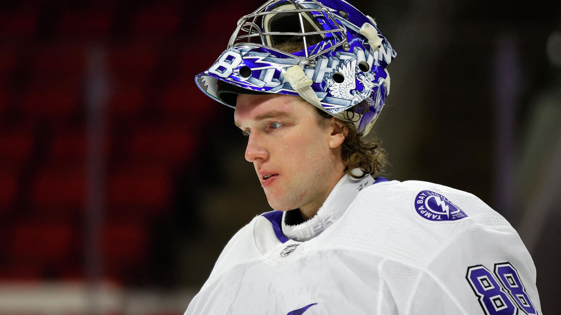 RALEIGH, NORTH CAROLINA - FEBRUARY 22: Andrei Vasilevskiy #88 of the Tampa Bay Lightning looks on during the first period of their game against the Carolina Hurricanes at PNC Arena on February 22, 2021 in Raleigh, North Carolina.   Jared C. Tilton/Getty Images/AFP (Photo by Jared C. Tilton / GETTY IMAGES NORTH AMERICA / Getty Images via AFP) - РИА Новости, 1920, 01.03.2021