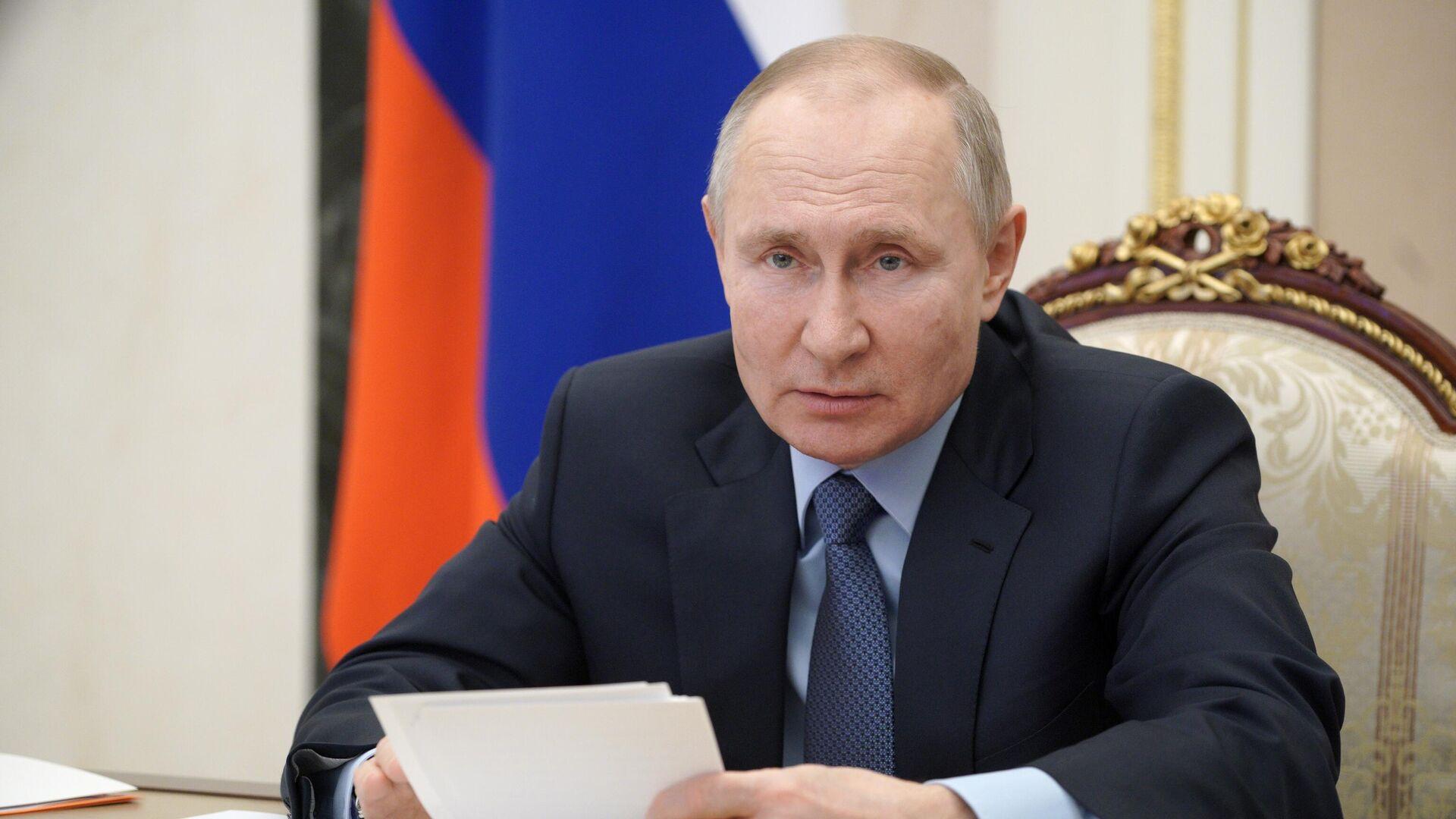 Президент РФ Владимир Путин проводит в режиме видеоконференции совещание по вопросам развития угольной отрасли - РИА Новости, 1920, 06.03.2021