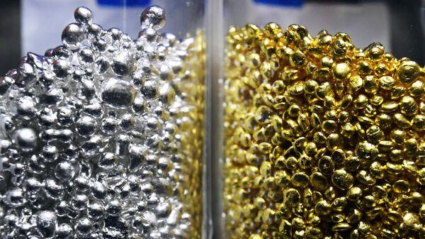 Аффинированное золото и серебро высшей пробы 99,99 процентов чистоты в гранулах