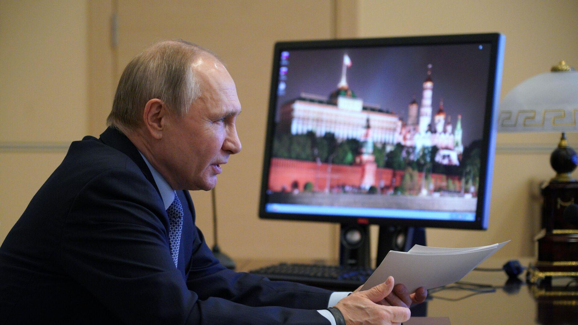 Президент РФ Владимир Путин проводит в режиме видеоконференции заседание Совета по межнациональным отношениям - РИА Новости, 1920, 30.03.2021