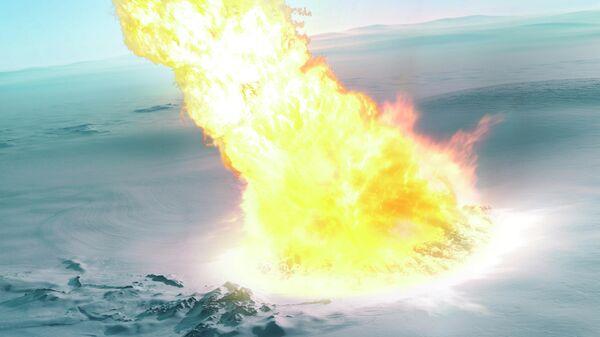 Художественное представление падения метеорита в Антарктиде, произошедшее 430 тысяч лет назад