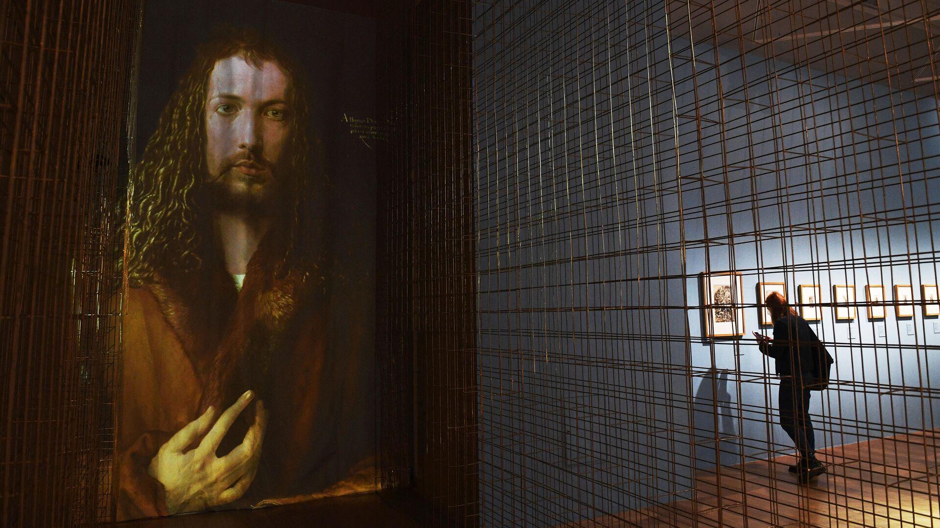 Знаменитый автопортрет Дюрера (цифровая копия) на выставке Альбрехт Дюрер. Шедевры гравюры - РИА Новости, 1920, 02.04.2021