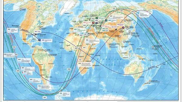 Карта мира с траекториями полетов Гагарина и других пионеров космоса