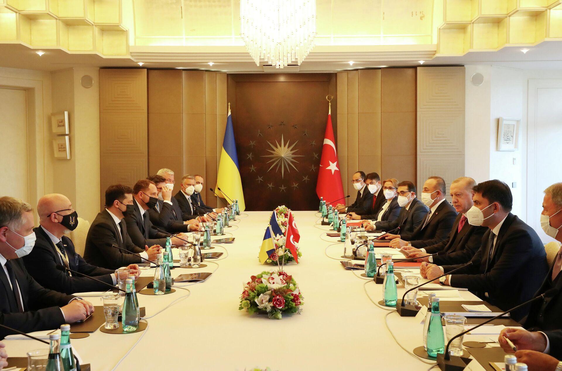 Президент Турции Тайип Эрдоган и президент Украины Владимир Зеленский во время встречи в Стамбуле, Турция - РИА Новости, 1920, 28.04.2021