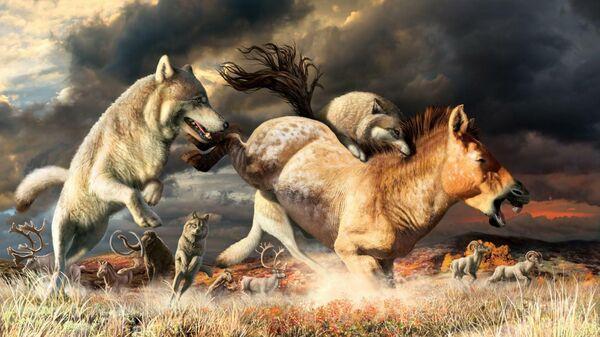 Художественное изображение охоты серых волков в конце плейстоцена около 25 тысяч лет назад