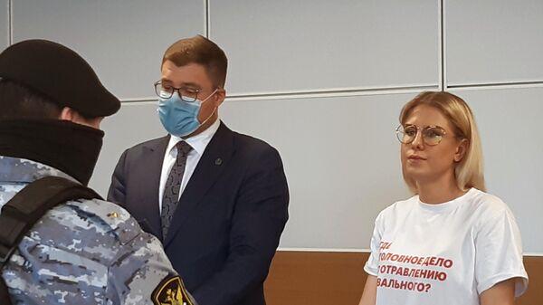 Любовь Соболь, обвиняемая в незаконном проникновении в жилище, в Перовском районном суде города Москвы.