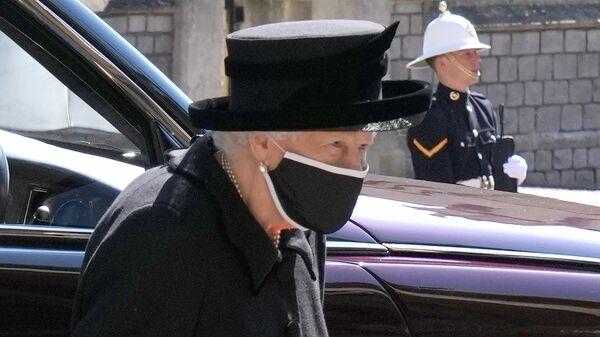 Королева Великобритании Елизавета II во время похорон своего супруга герцога Эдинбургского Филиппа