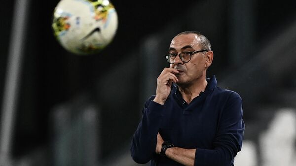 Juventus' Italian coach Maurizio Sarri looks on during the Italian Serie A football match Juventus vs Sampdoria played behind closed doors on July 26, 2020 at the Allianz Stadium in Turin. (Photo by MARCO BERTORELLO / AFP)