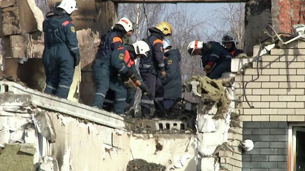 Разбор завалов после взрыва дома в Нижегородской области