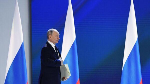 Президент РФ Владимир Путин перед выступлением с ежегодным посланием Федеральному Собранию