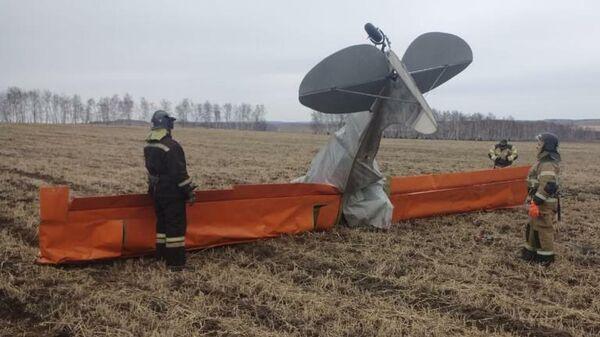 Место падения легкомоторного самолета в Иркутской области