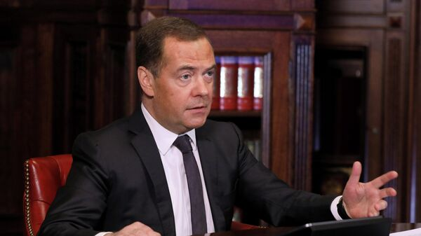 Заместитель председателя Совета безопасности РФ Дмитрий Медведев принимает участие в режиме видеоконференции в заседании попечительского совета Санкт-Петербургского государственного университета