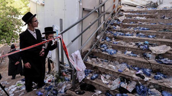 На месте смертельной давки, возникшей при праздновании религиозного праздника Лаг ба-Омер в Израиле
