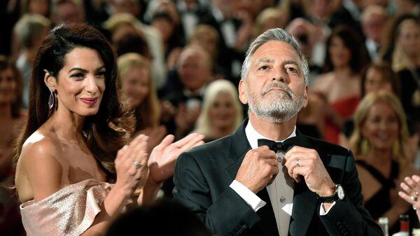 Джордж Клуни с женой Амаль на 46-м гала-концерте AFI Life Achievement Award в его честь в Лос-Анджелесе