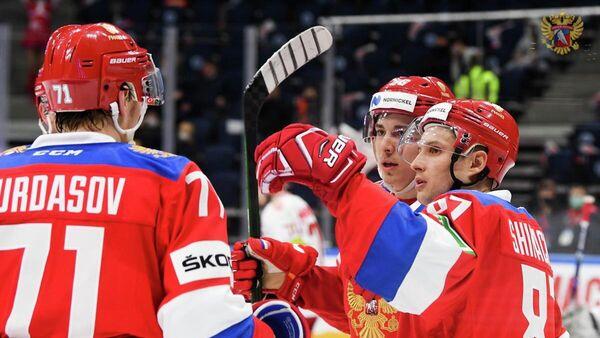 Хоккеисты сборной России в матче Еврочелленджа с национальной сборной Белоруссии