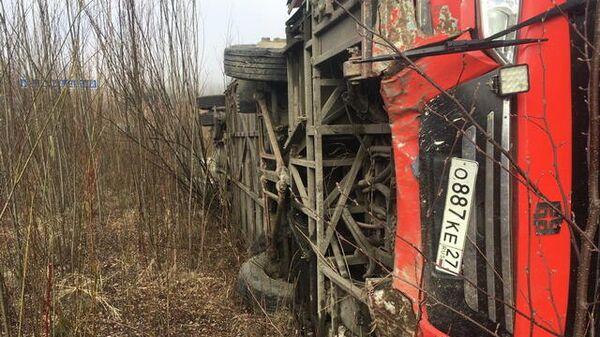На месте ДТП с пассажирским автобусом в Хабаровском крае