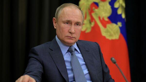 Владимир Путин во время встречи с заместителем председателя правительства РФ Татьяной Голиковой в режиме видеоконференции