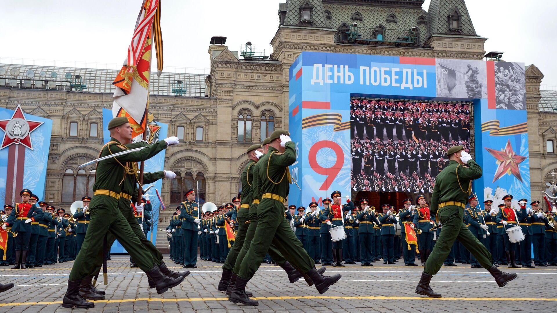 Военнослужащие парадных расчетов на военном параде в честь 76-й годовщины Победы в Великой Отечественной войне в Москве - РИА Новости, 1920, 12.05.2021