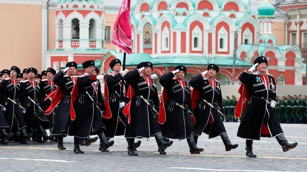 Парадный расчет Всероссийского кубанского общества на военном параде в честь 76-й годовщины Победы в Великой Отечественной войне в Москве