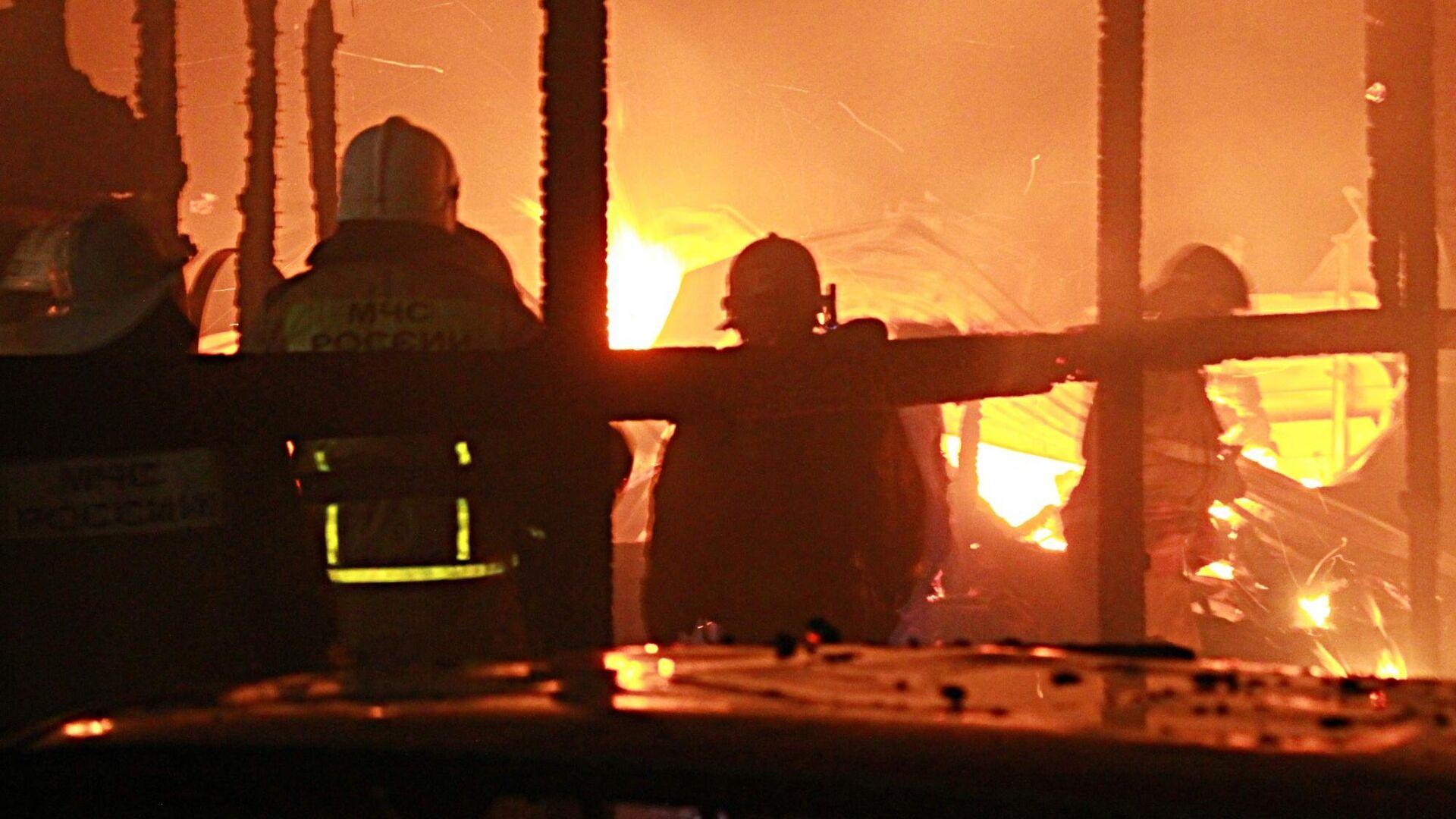На месте пожара в частном доме в Родинском районе села Красный Алтай - РИА Новости, 1920, 12.05.2021