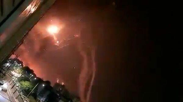 Кадры работы израильской системы ПРО «Железный купол» во время ракетной атаки ХАМАС
