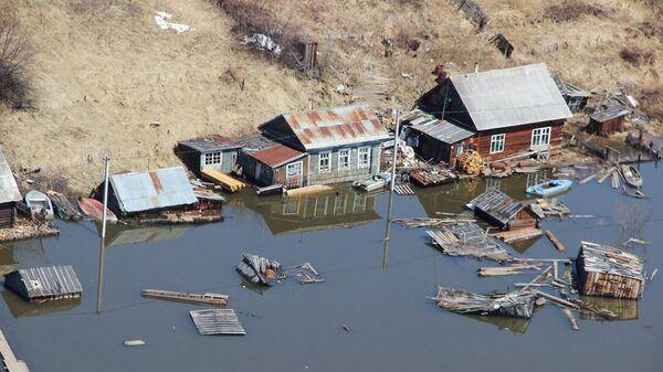Вид на подтопленные дома в Николаевском районе Хабаровского края