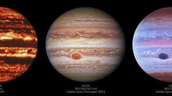 Изображения Юпитера в в трех диапазонах: слева — в инфракрасном, полученное прибором NIRI (Near-InfraRed Imager) в обсерватории Джемини на Гавайях; в центре и справа — соответственно в видимом и ультрафиолетовом свете, снимки космического телескопа Хаббл
