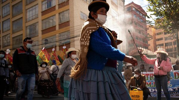 Женщина проводит дезинфекцию во время демонстрации в Ла-Пасе, Боливия