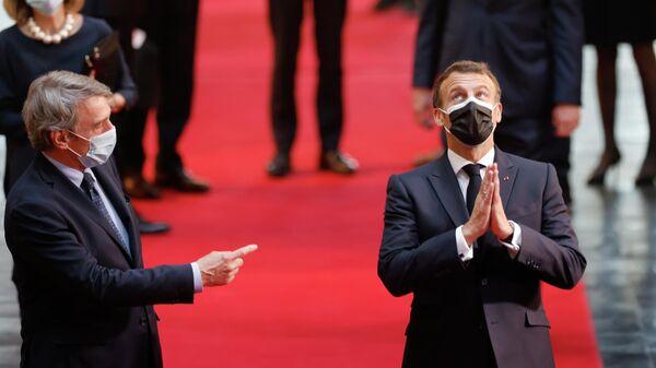 Президент Франции Эммануэль Макрон и Председатель Европейского парламента Давид Сассоли в Страсбурге