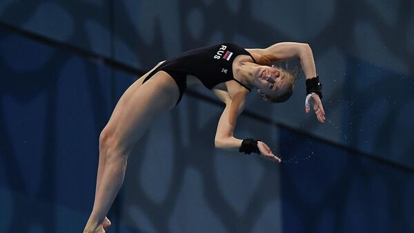 Russia's Anna Konanykhina competes in  the final of the Women's 10m Platform Diving event during the LEN European Aquatics Championships at the Duna Arena in Budapest on May 13, 2021. (Photo by Attila KISBENEDEK / AFP)