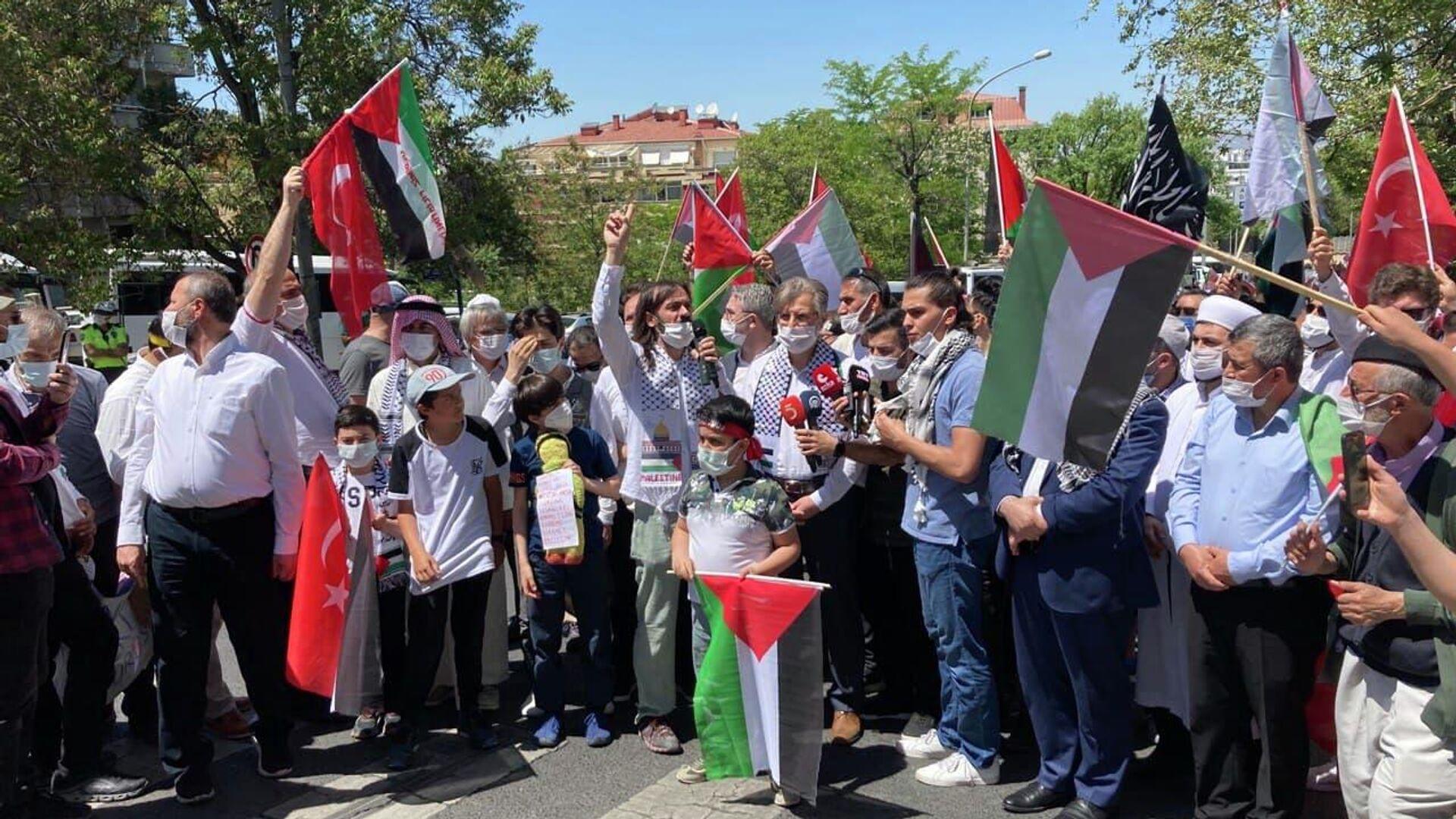 Акция протеста после обострения израильско-палестинского конфликта у резиденции израильского посла в Анкаре, Турция - РИА Новости, 1920, 15.05.2021