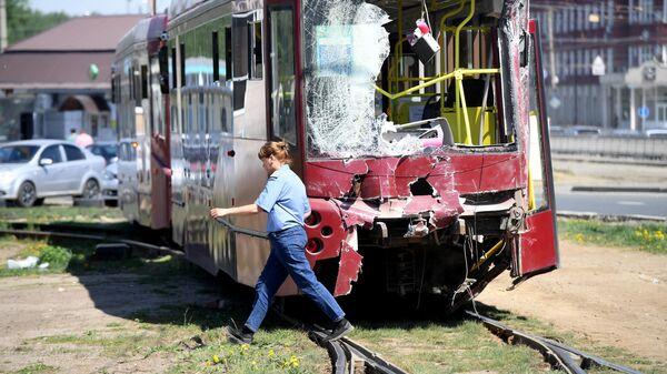 ДТП с трамваями в Казани