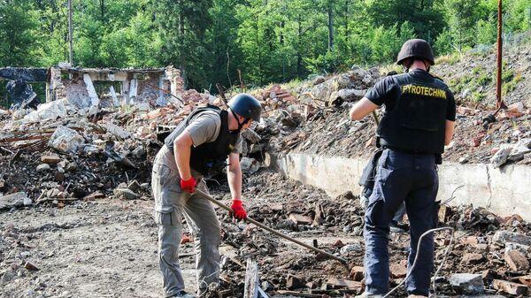 Сотрудники чешских правоохранительных органов на месте взрыва на военном складе в Врбетице