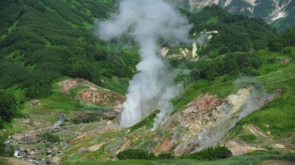 Извержение гейзера Великан в Долине Гейзеров в Кроноцком заповеднике