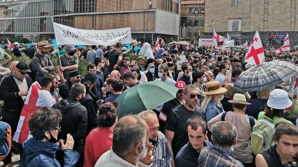 Противники строительства каскада Намахвани ГЭС проводят акцию протеста 23 мая 2021 года