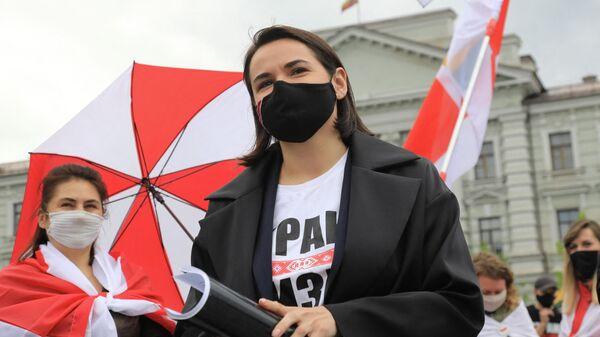 Светлана Тихановская во время акции протеста перед посольством Белоруссии в Литве