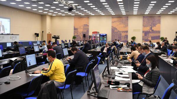 Главный пресс-центр Петербургского международного экономического форума - 2021 в конгрессно-выставочном центре Экспофорум