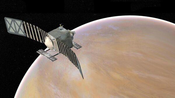 Художественное представление межпланетной автоматической станции NASA VERITAS на орбите Венеры