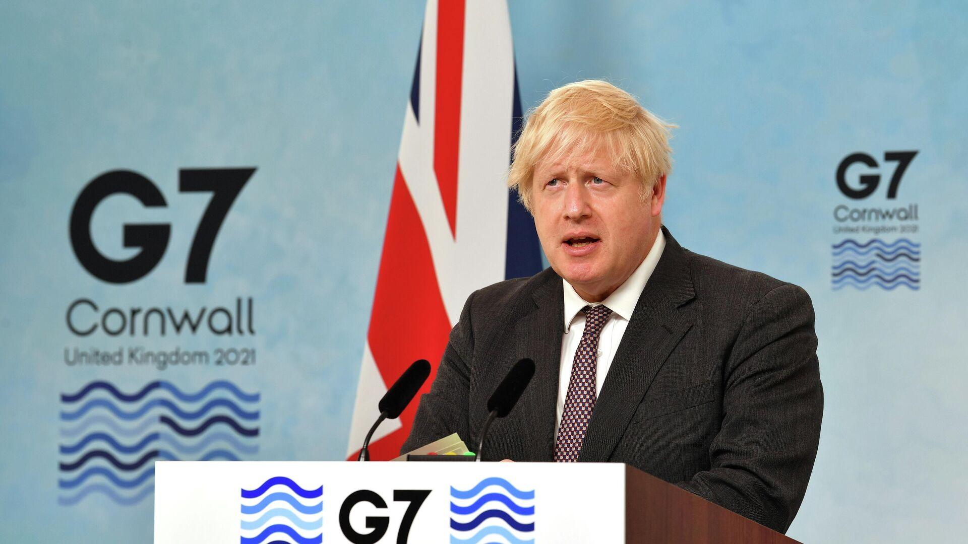 Премьер-министр Великобритании Борис Джонсон выступает на пресс-конференции по окончании саммита G7 в Великобритании - РИА Новости, 1920, 24.06.2021