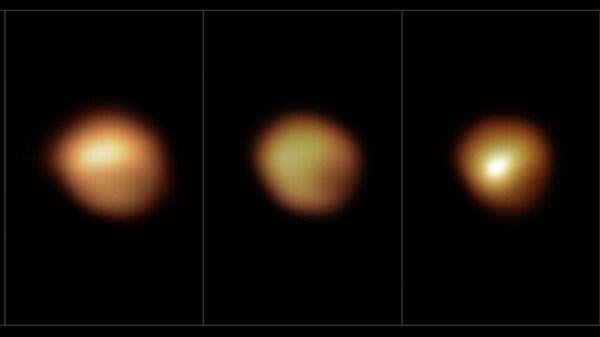 Изображения Бетельгейзе, сделанные Очень большим телескопом (VLT): слева направо - в январе 2019 года (еще с нормальной яркостью), декабре 2019 года, январе и марте 2020 года