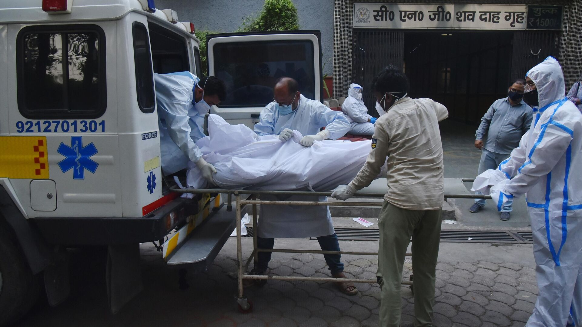 Медицинские работники транспортируют мертвое тело в Дели - РИА Новости, 1920, 19.06.2021