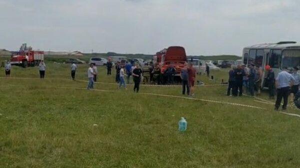 Кадры с места крушения самолета на Кузбассе